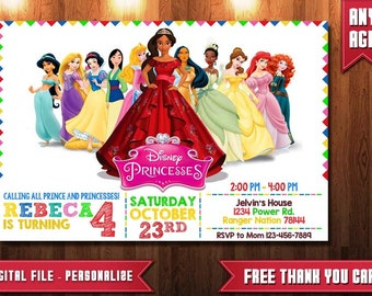 Disney Princesses Invitation, Disney Princesses Invites, Disney Princesses Birthday, Disney Princesses Party, Disney Princesses, Invitation