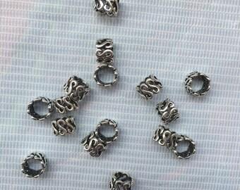 50Pcs Dreadlock Beads Adjustable Hair Braid Cuff Clip 7mm Big Hole Silver Micro Bead for Braiding hair