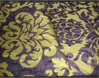 "No. 400 Antique Gold and Eggplant Chenille Fabric;  64"" x 56""; Unused"
