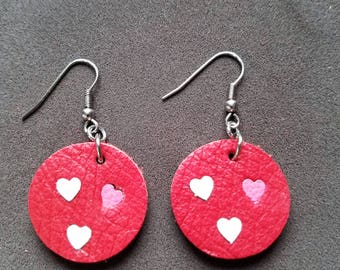 "Lovely Heart 1"" Round Earrings, Love earrings, Leather heart earrings, gifts for her"