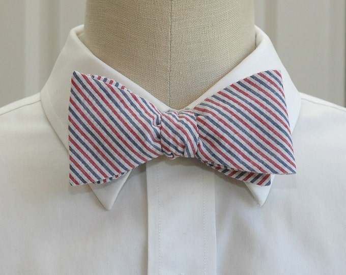 Men's Bow Tie in red, white & blue striped seersucker,  self tie, wedding party tie, groom bow tie, groomsmen gift, USA, patriotic, 4th July