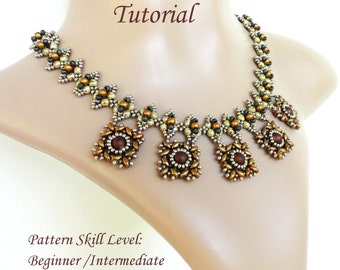 XQUEB beaded necklace beading tutorials and patterns superduo or twin seed beads jewelry beadweaving tutorial beading pattern instructions
