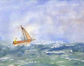 Sailing Solo - Watercolor Print