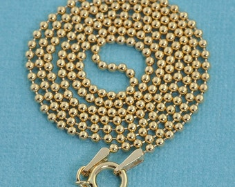 """1.5MM 14k Gold Filled Ball Chain Necklace With Springring Clasp 18"""" Length"""