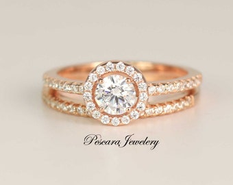 3/4 ct.tw Rose Gold Engagement Ring Set, Wedding Ring Set, Bridal Set, Diamond Stimulant, Sterling Silver