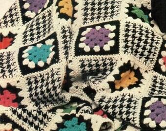 Houndstooth Granny Square Afghan, Vintage 1976 Pattern, Instant PDF, Digital Download