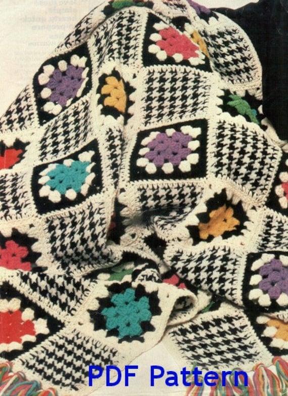 Houndstooth Granny Square Afghan Vintage 1976 Pattern
