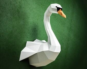 Papercraft Swan, DIY paper craft model, PDF template kit, Low poly paper sculpture, origami, animal trophy head, bird, goose, duck, pepakura