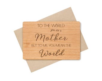 Mothers Day Card Unique Wood Card. Mothers Day Gift Wood Card. Mother's Day Gift for Mom.