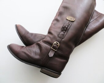 80s Leather Riding Boots BROWN Flat Knee Length Christina Designer Women US Size 7 Euro 37 1/2