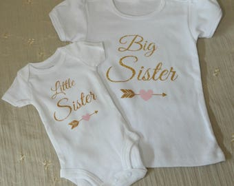 Big Sister Little Sister Outfits...Siblings...Newborn Onesie...Little Girl Shirt...Sister Outfits...Reveal Outfits...Gold or Silver Sparkle