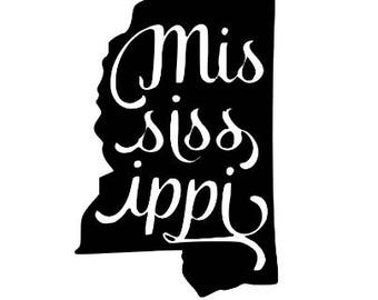 Mississippi State Vinyl Car Decal Bumper Window Sticker Any Color Multiple Sizes Jenuine Crafts