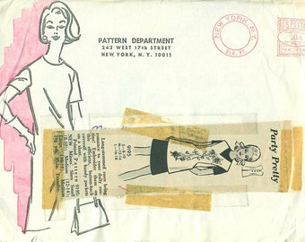 Mail Order Pattern 9195 COVERALL APRON with EMBROIDERY Transfers 1960s
