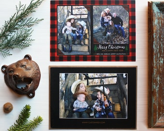 Buffalo Plaid Christmas Card Two Photos - Lumberjack Holiday Card - DIY Printable or Prints - Red Black Checkered - Custom Requests Welcome