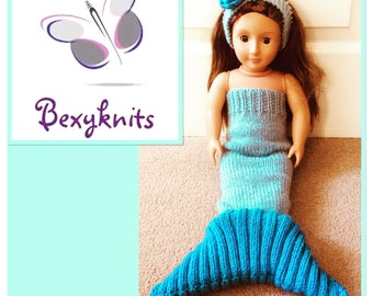 Knitted mermaid tail outfit for 18 inch dolls - our generation / American girl