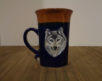 Wolf, Hand Painted Wolf Coffee Mug, Mug, Animal Coffee Mug, Cup, Coffee Cup