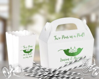 Baby Shower Favor Boxes | Scalloped Popcorn Box or Gabble Box | Custom Foil Party Favors | Two Peas in a Pod | social graces and Co.