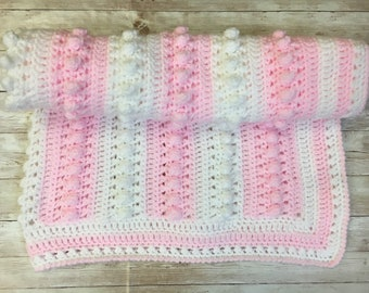Handmade crochet baby blanket made to order, your choice of colours ideal new baby or christening gift pram / cot blanket