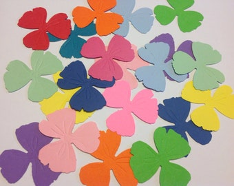 25 PANSEY FLOWERS EMBOSSED Confetti Punchies Party Luau