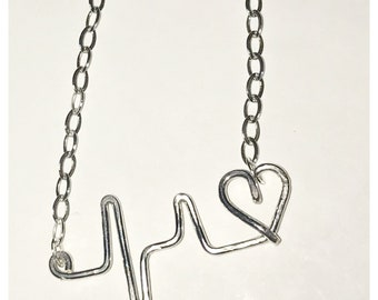 Heartbeat Necklace Sterling Silver Chain and Pendant