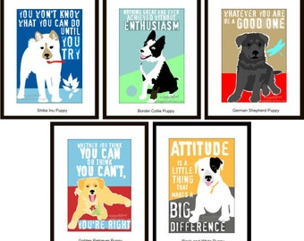 Classroom Decor Motivational for Kids, Puppy Art Prints, Dog Themed Classroom, 5 Pc Set for the Price of 4, 8x10 Matted to fit 11x14 Frame