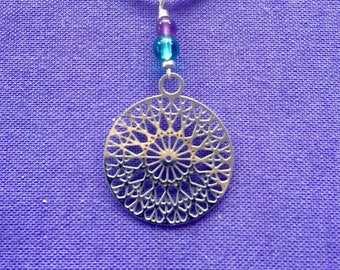 Bohemian mandala necklace with gemstone beads