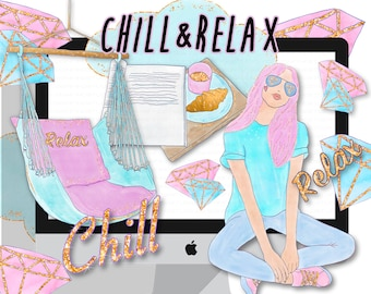 planner clipart, planner girl stickers, watercolor fashion illustration planner cover digital graphics glam relax chill diamond gem