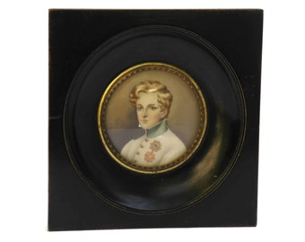 French Antique Miniature Portrait Painting of Napoleon II. 19th Century French Art of the Duke of Reichstadt. Antique French Militaria.