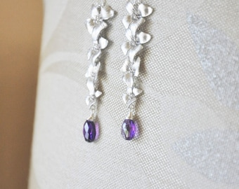 Silver Dogwood Flower Jewelry Set- Dogwood Necklace, Dogwood Flower Earrings, Feminine Jewelry, Amethyst Necklace, Amethyst Earrings