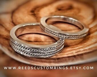 Silver Wedding Band Set - Silver Rope Wedding Ring - Silver Rope Ring - Sterling Silver Wedding Ring - Silver Wedding Ring Set