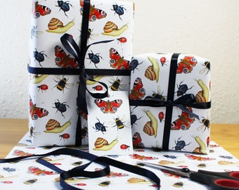 Minibeasts Wrapping Paper Invertebrates Gift Wrap + Tags Full Sheets 50x70cm Butterfly, Bee, Ladybird, Snail, Beetle