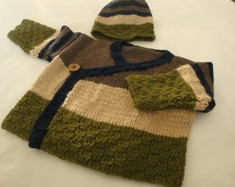Boys jacket, jacket, earthy colours, with Hat