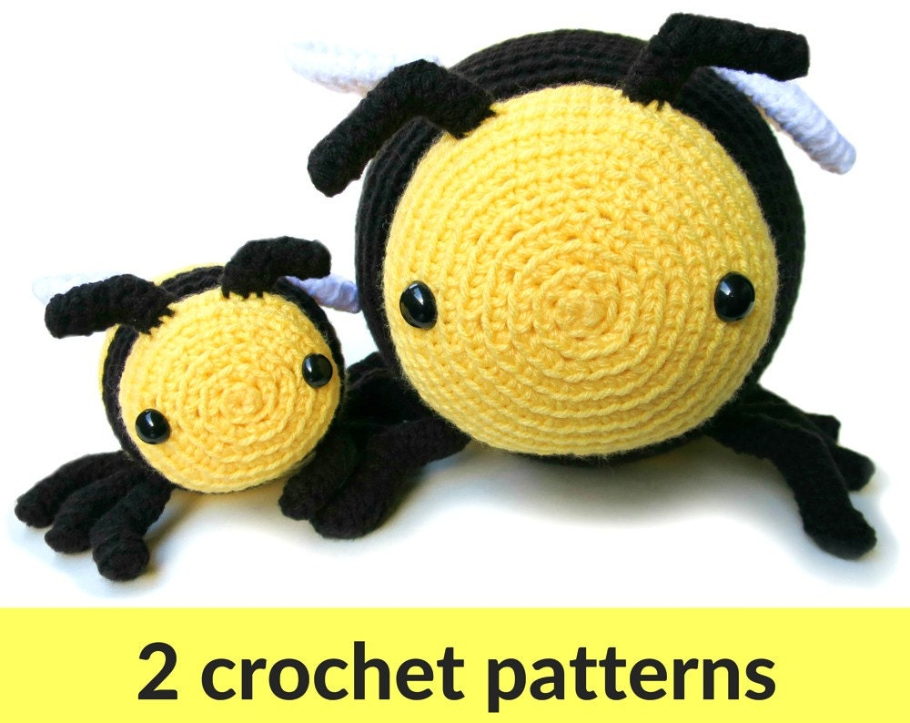 Bee amigurumi patterns two bumble bee patterns large and
