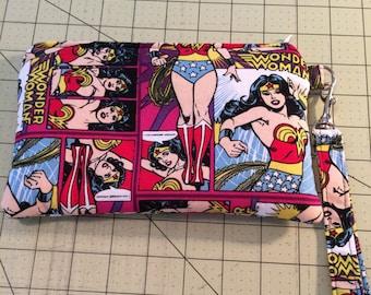 Wonder Woman Wristlet, zipper bag, cosmetic bag, ready to ship