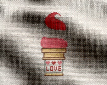 Hand Painted Love Ice Cream Cone Needlepoint Canvas by MyPinkSugarLife