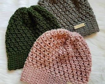 The Riley Hat PATTERN, Crochet Pattern, Crochet Slouchy Beanie Pattern, Crochet Hat Pattern