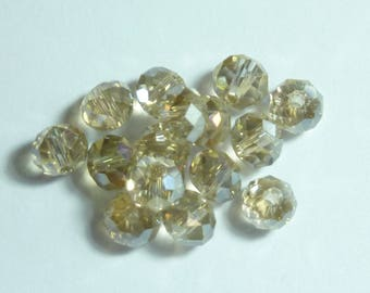 15 pearls 6mm champagne ab faceted iridescent