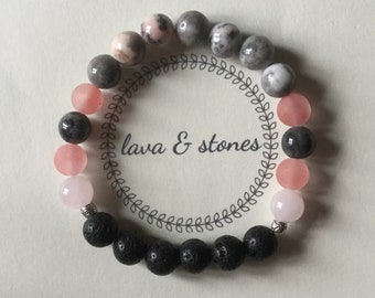 White Lava Bead and Stone Bracelet