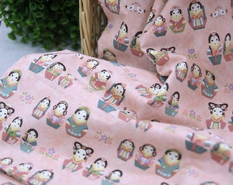 Cotton Fabric Korean Matryoshka in 2 Colors By The Yard