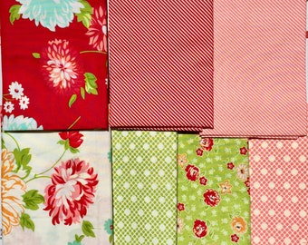 Scrumptious Bonnie & Camille moda fabric 7 FQ set oop htf Please Read