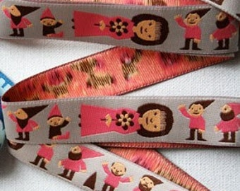 1 YARD - Snow White and the Seven Dwarfs - Rosa Pomar Ribbon - Imported Pink