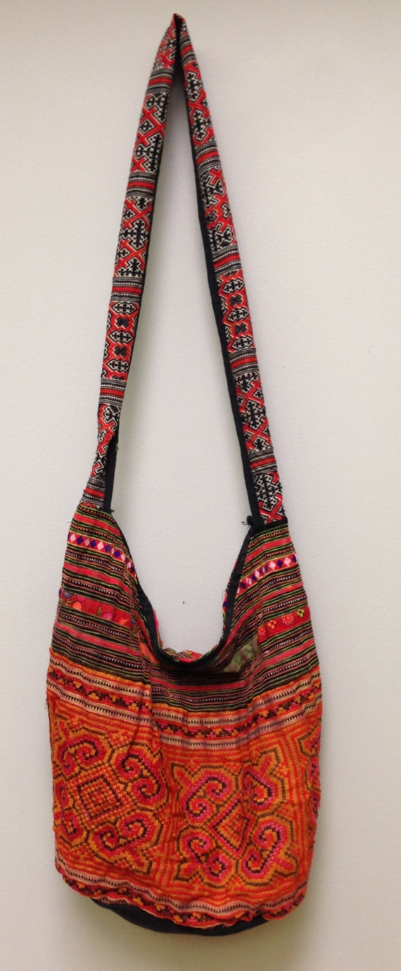 Chinese Bag Hmong Embroidered Purse Hill Tribe Handmade Colorful Shoulder Bag Purse Hand Woven Colorful Gift for Her One of Kind Tribal