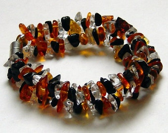 "Baltic Amber Black Tourmaline Quartz Crystal Magnetic Bracelet ""Monarch"""