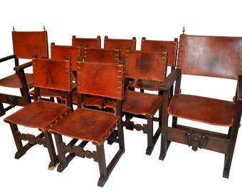 Antique Spanish Dining Chairs, Leather, Set of 10, Rustic #8471