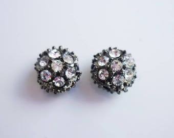 2 metal beads with Rhinestone 9x6mm