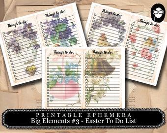 Altered Art Kit - Big Elements #3 Easter - 3 Page Download -  to do list, digital collage, blank journal cards, digital journal kits