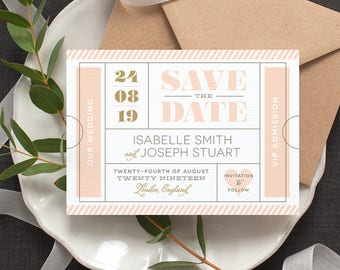Ticket Stub 'Save the Date' Card / 'Modern Typography' Wedding Card Announcement / Nude Blush Pink Gold / Custom Colours / ONE SAMPLE