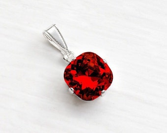 Red crystal pendant etsy deep red swarovski crystal pendant necklace dark red siam cushion cut swarovski crystal pendant necklace aloadofball Image collections