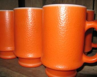 Set of Six Orange Milk Glass Pedestal Mugs