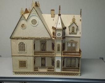 Half Inch Scale Wooden Dollhouse Kit, Grace Mansion, Gorgeous Victorian Wooden Dollhouse Kit, 1:24 Scale, SHIPS WORLDWIDE